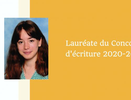 Perrine Lenfant, Lauréate du Concours d'écriture